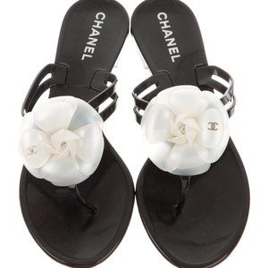 CHANEL Camellia Jelly Thong Sandals, IT 38, New!